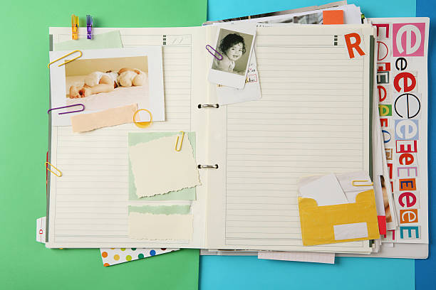 colorful organizer - scrapbook stock photos and pictures