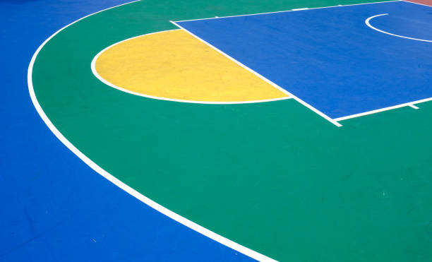 colorful outdoor rubber basketball playground detail aerial view colorful outdoor rubber basketball playground aerial view courtyard stock pictures, royalty-free photos & images