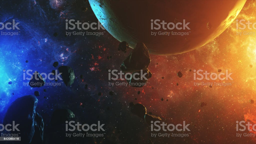 Colorful outer space with asteroids and planet 3d illustration stock photo