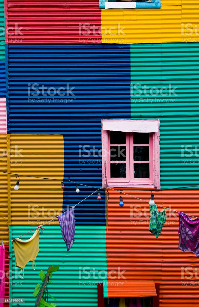 Colorful outside of building in Buenos Aires, Argentina stock photo