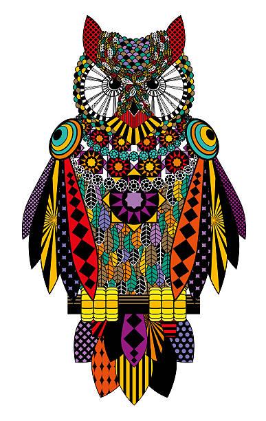 colorful owl. raster drawing on a white background. - eule zeichnung stock-fotos und bilder
