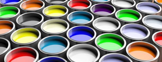 bunte farbe dosen hintergrund, 3d illustration - bemalte tontöpfe stock-fotos und bilder