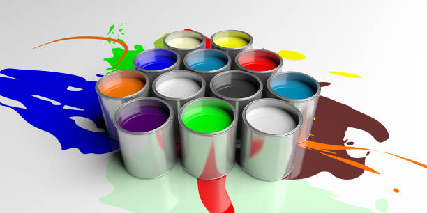 bunte farbdosen auf weißem hintergrund, 3d illustration - bemalte tontöpfe stock-fotos und bilder
