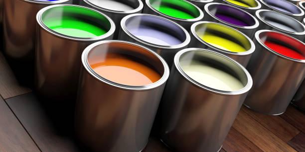 bunte farbdosen auf hölzernen hintergrund, 3d illustration - bemalte tontöpfe stock-fotos und bilder