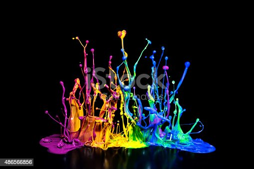 istock Colorful Paint Spalsh on a Speaker 486566856