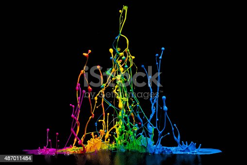 istock Colorful Paint Spalsh on a Speaker 487011484