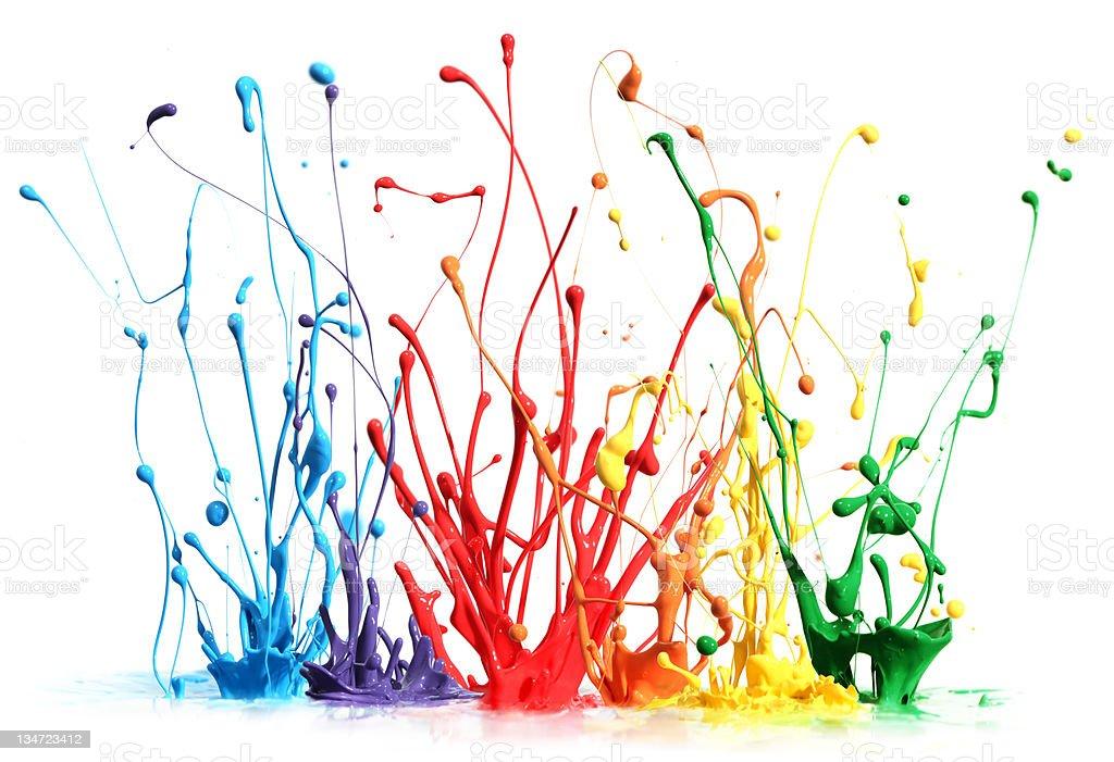 Colorful paint splashing isolated on white royalty-free stock photo