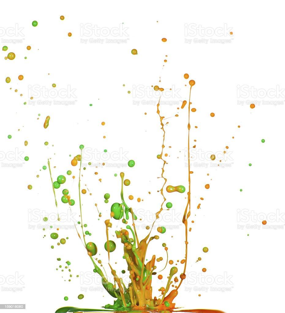 Colorful paint splashing isolated royalty-free stock photo