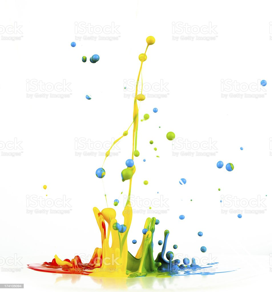 Colorful paint splashing royalty-free stock photo