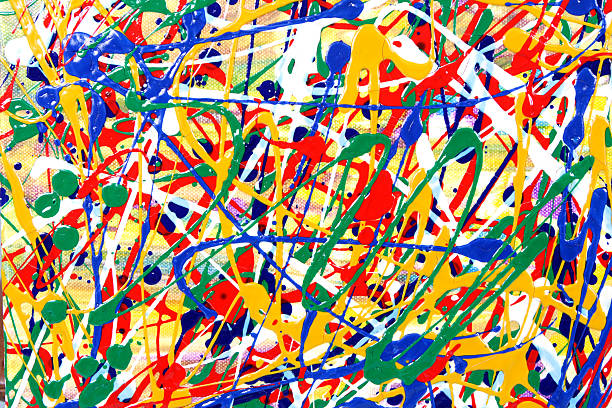 Colorful paint splatters and swirls  stock photo