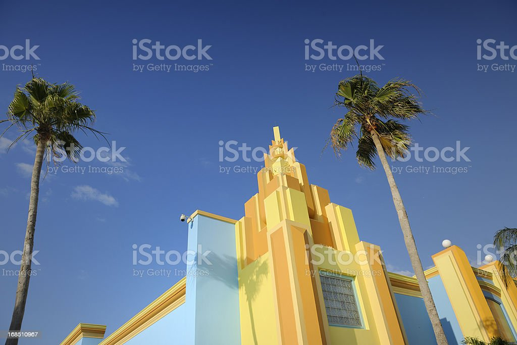 colorful painted Art Deco house in Miami Florida bildbanksfoto