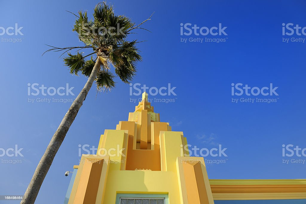 colorful painted Art Deco house on Ocean Drive Miami Florida bildbanksfoto