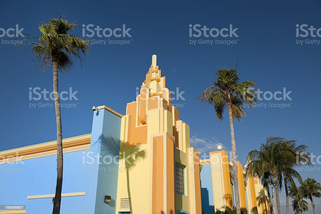colorful painted Art Deco houses in Miami Florida USA royalty-free stock photo
