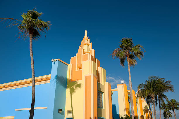 colorful painted Art Deco houses in Miami Florida USA stock photo