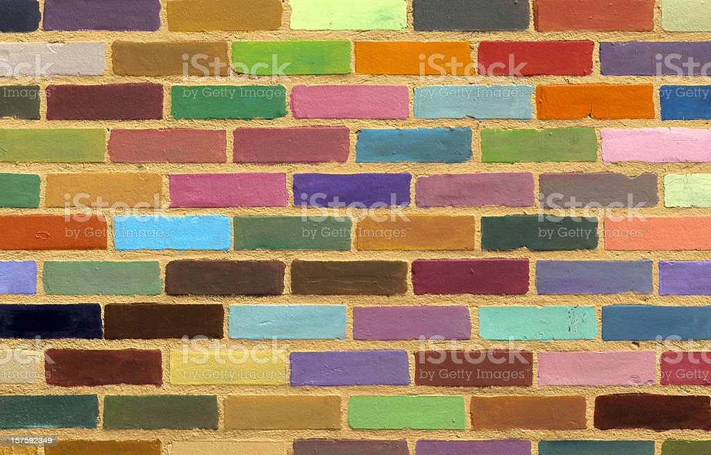 Colorful Painted Brick Wall Background Pattern or Texture royalty-free stock photo