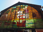 istock Colorful painted glasswindow above the entrance of the market hall in Malaga, Spain 1147282014