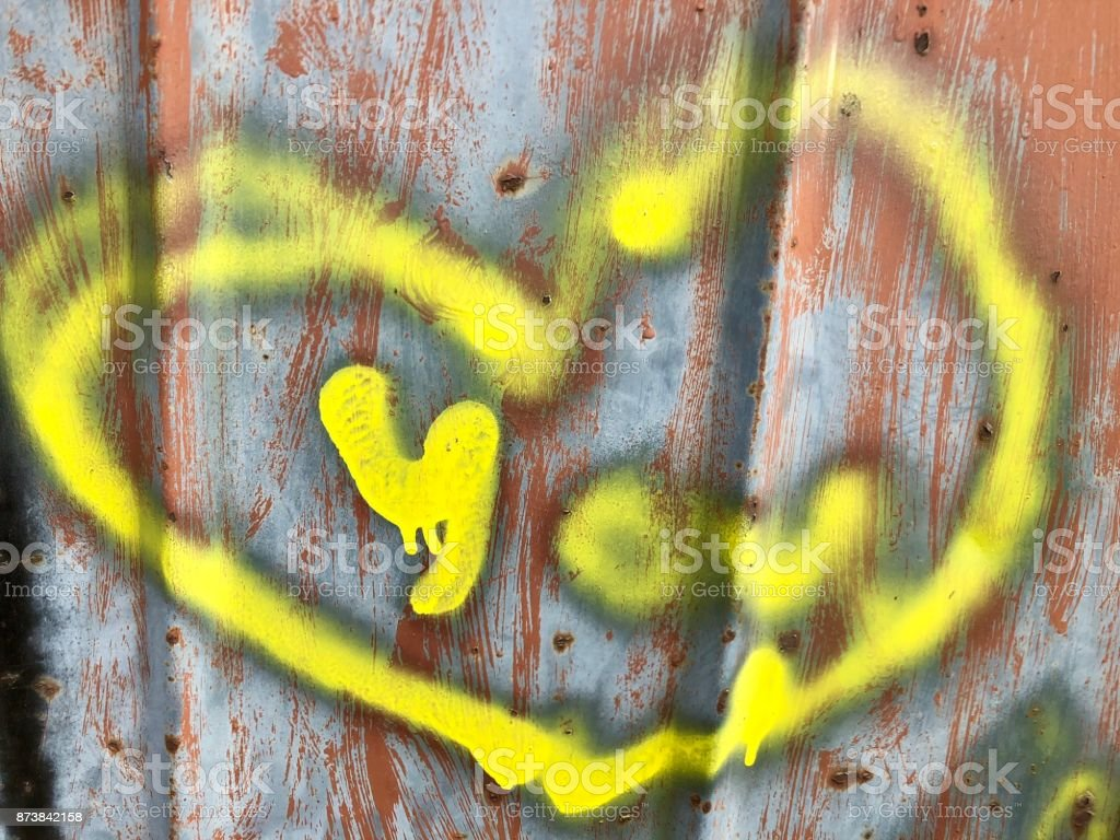 Colorful Painted Hearts On A Metal Wall Stock Photo & More Pictures ...