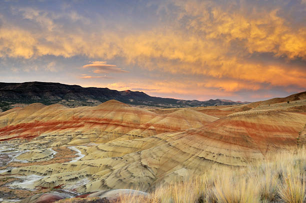 colorful painted hills at sunset, Mitchell, Oregon stock photo