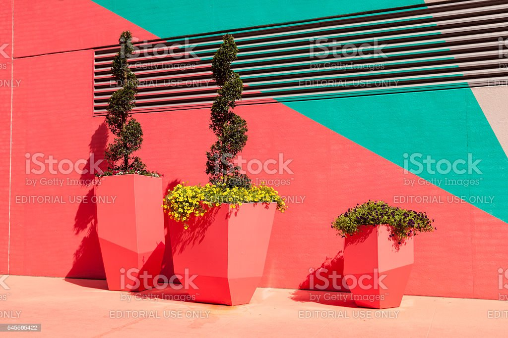 Colorful painted wall in Houston, Texas stock photo