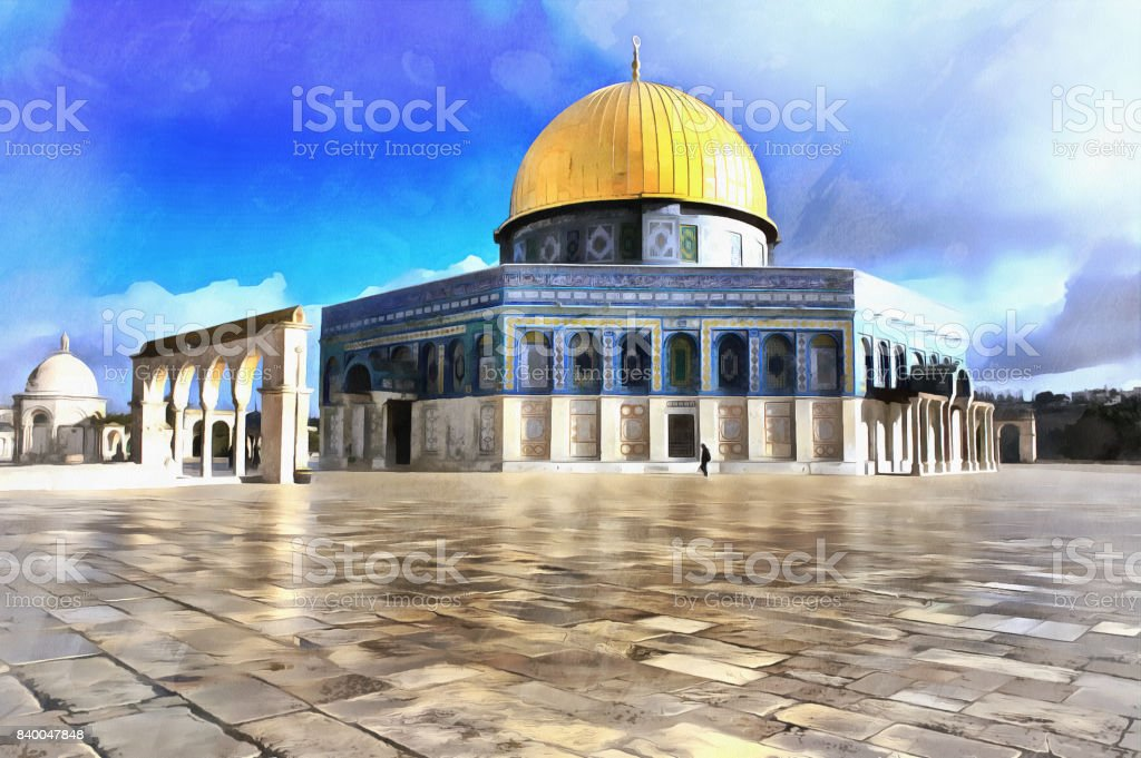 Colorful painting of al Aqsa mosque stock photo