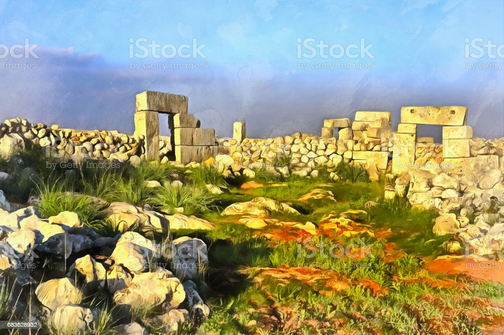 Colorful painting of antient Byzantine town vector art illustration