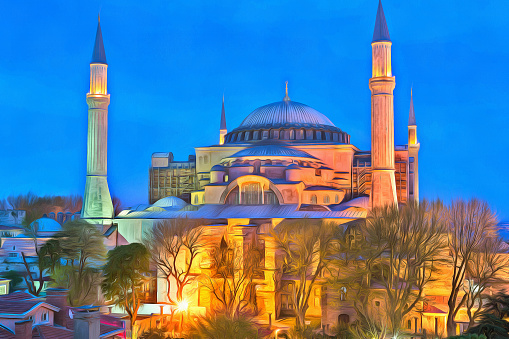 Sultanahmet Camii Renkli Boyama Stok Fotograflar Aksam Karanligi