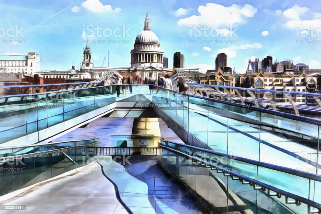 Colorful painting of cityscape view of St. Paul's Cathedral from Millennium Bridge vector art illustration