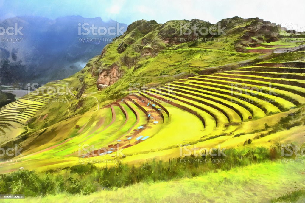 Colorful painting of hill with terraces stock photo