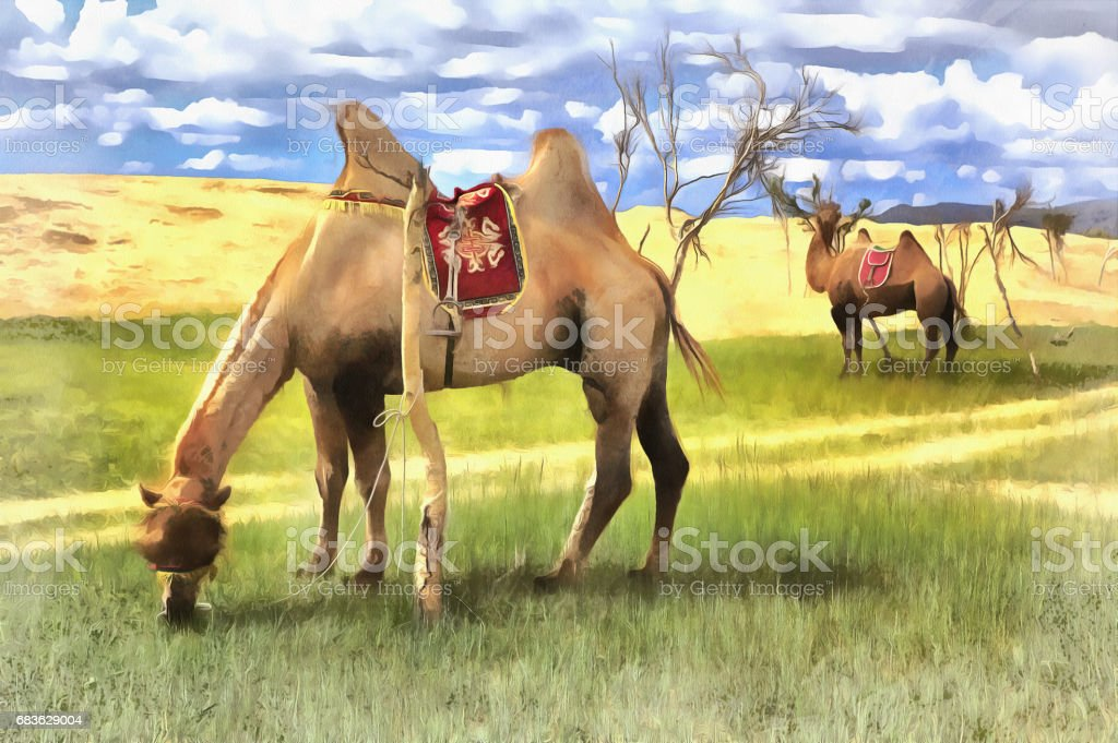 Colorful painting of Mongol Els sand dunes vector art illustration