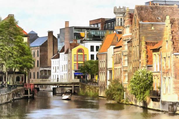 Peinture de la vieille ville avec canal coloré - Photo