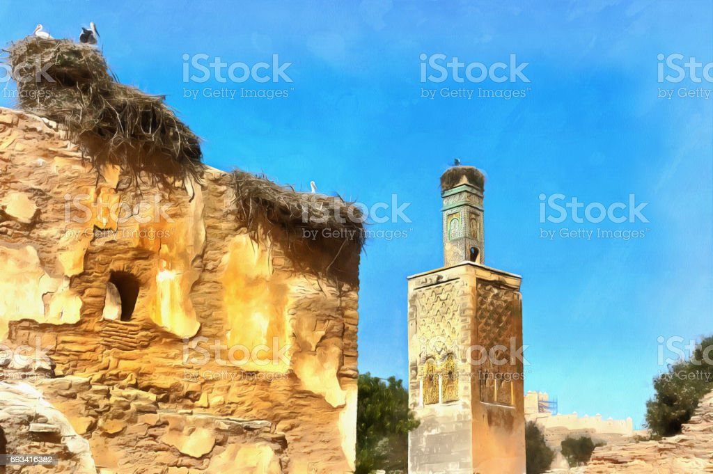 Colorful painting of Roman ruins and Marinid Necropolis stock photo