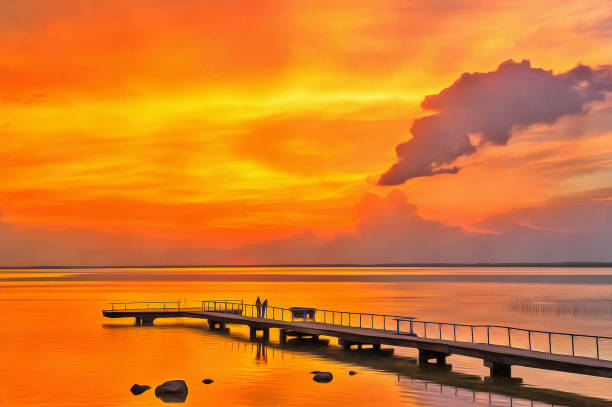 Royalty free drawing of a lake dock pictures images and stock drawing of a lake dock pictures images and stock photos freerunsca Gallery