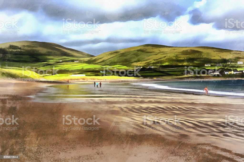 Colorful painting of Ventry harbour stock photo