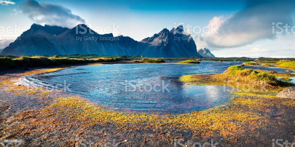 Colorful panorama of the Stokksnes headland royalty free stockfoto