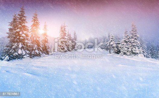 1061644120 istock photo Colorful panorama of the winter sunrise in the mountain forest 517924851