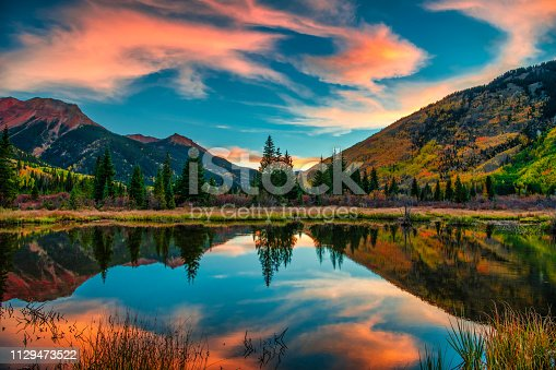 Panoramic Mountain View at Sunrise in Autumn
