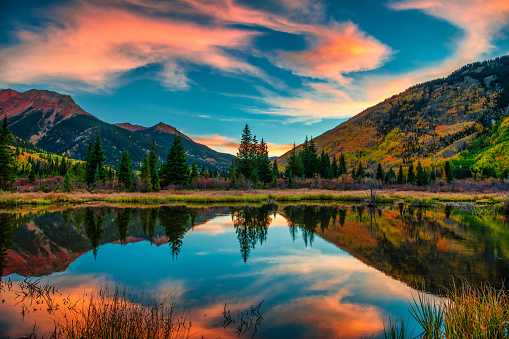 istock Colorful Panoramic Mountain View at Sunrise 1129473522