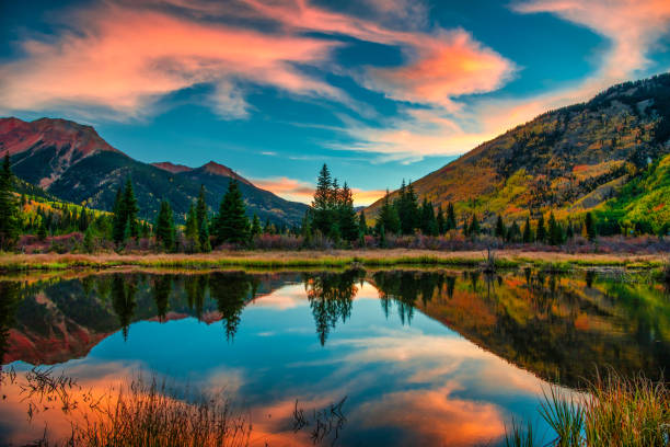 Colorful Panoramic Mountain View at Sunrise Panoramic Mountain View at Sunrise in Autumn horizontal stock pictures, royalty-free photos & images