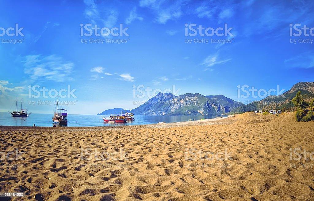 Colorful panoramic view  Olympos Beach stock photo