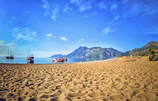 Colorful panoramic view  Olympos Beach stock photo