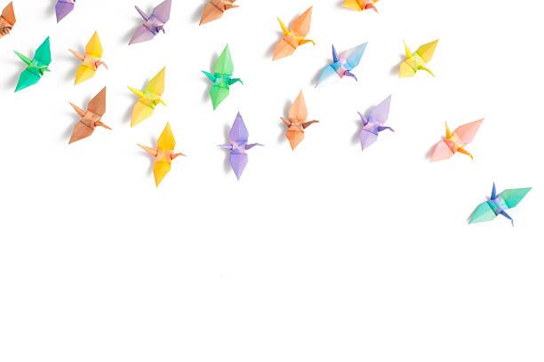 papier coloré oiseaux - origami photos et images de collection