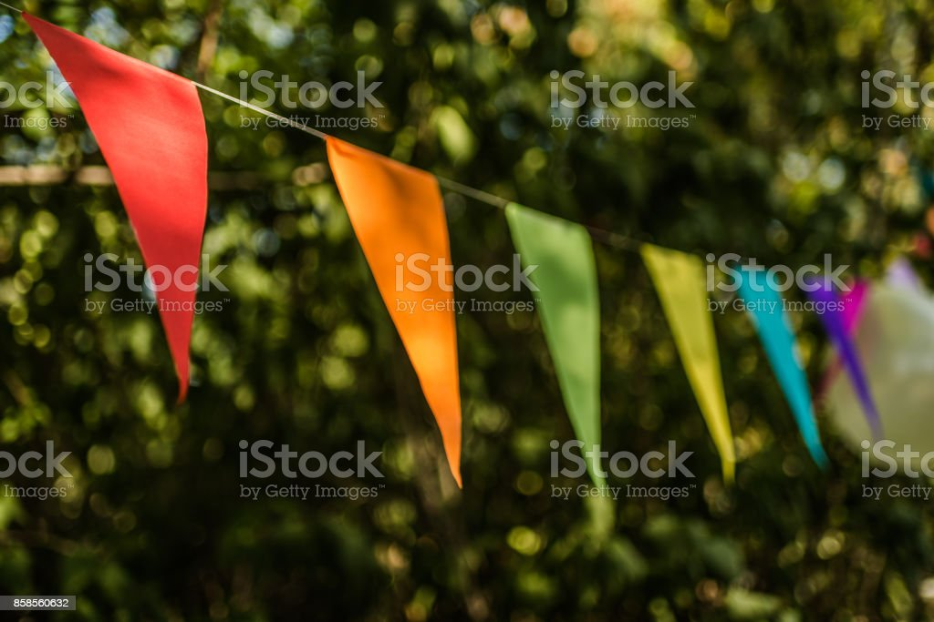 Colorful paper bunting flags and balloons hanging for trees at a summer party - fotografia de stock