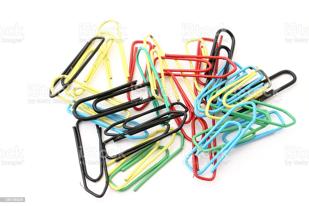 colorful paper clips on white royalty-free stock photo