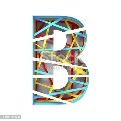 845304606 istock photo Colorful paper cut out font Letter B 3D 1155972634