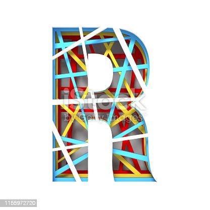583978558istockphoto Colorful paper cut out font Letter R 3D 1155972720