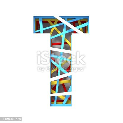 583978622 istock photo Colorful paper cut out font Letter T 3D 1155972778