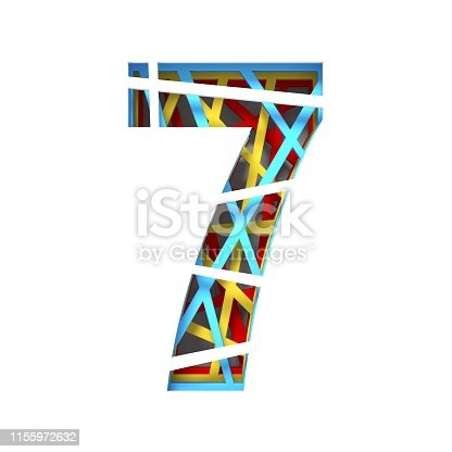 520660497 istock photo Colorful paper cut out font Number 7 SEVEN 3D 1155972632
