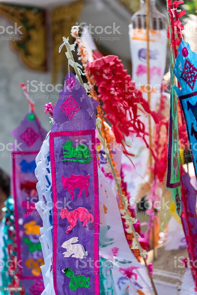 Colorful Paper Decoration Near Temple In Thailand Stock Photo & More