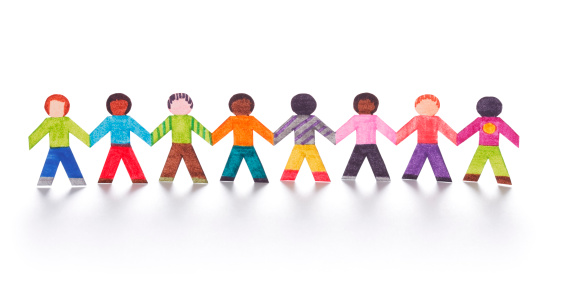 istock Colorful paper kids holding hands 182382097