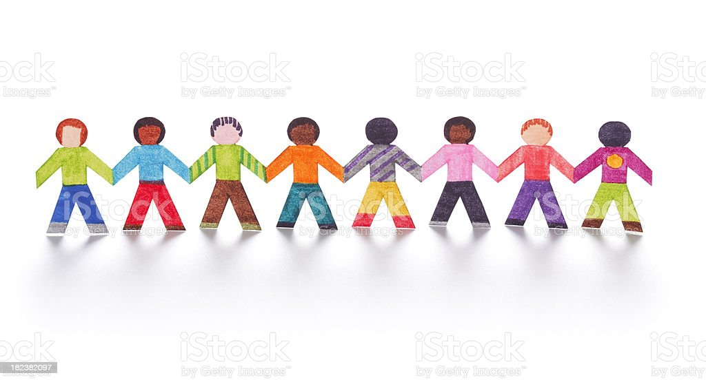 Colorful paper kids holding hands stock photo